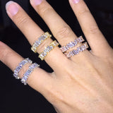 Thin Baguette Stone Rings