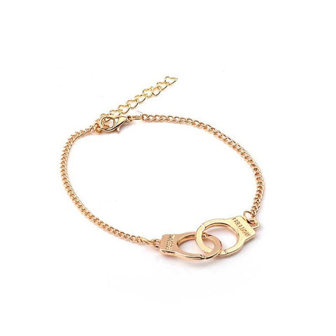 Punk Rock Gold and Silver Color Cute Chain Handcuff Bracelets