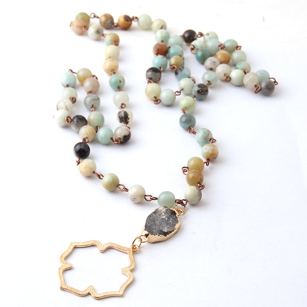 Amazonite Stones Natural Druzy Flower of Life Pendant Necklaces