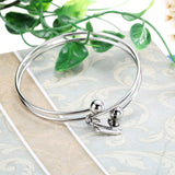 Polished Heart Stainless Steel Love Pendant Bangle