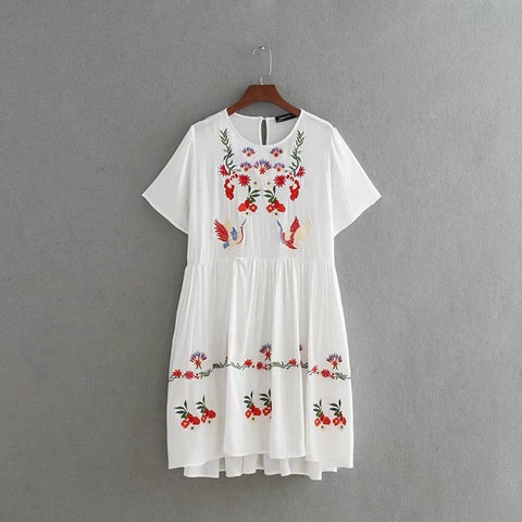 Summer Floral Embroidered Mini Dress