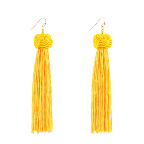 Braided Boho PomPom Rope Knot Long Tassel Earrings