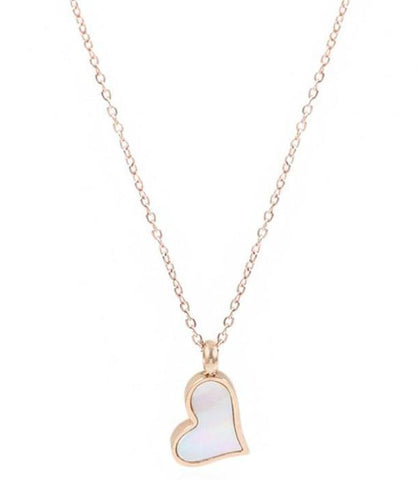Stainless Steel Rose Gold Shell Heart Necklaces