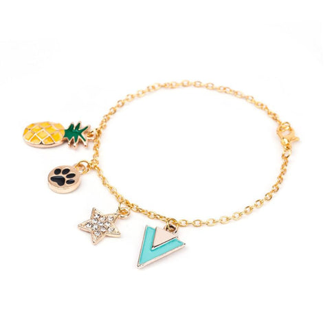 Gold Color Pineapple Fruit, Dog's Footprints, Star Bracelet