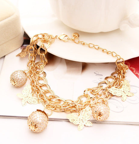 Gold Plated Crystal Charm butterfly Pendant Bangles