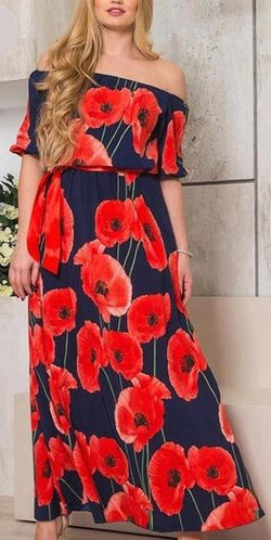 Chiffon Multi Printed Floral Long Maxi Dress