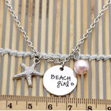 Antique Silver Starfish Beach Girl Charm Pendant Necklaces