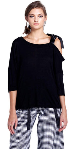 Autumn Black Casual One Shoulder Strap Top