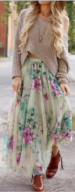 Sexy Cute Floral Long Maxi Skirt