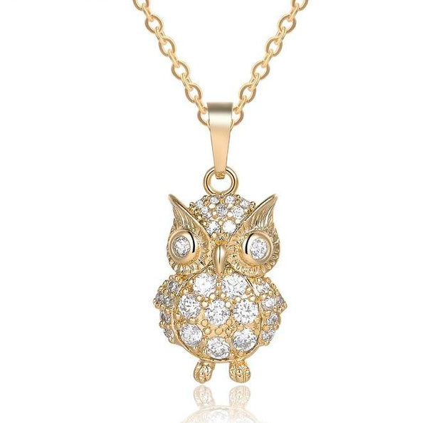 Austrian Crystal Owl Pendant Necklace