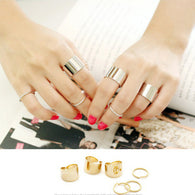 6 Pcs/Set Gold/Silver Simple Design Thin Ring Set