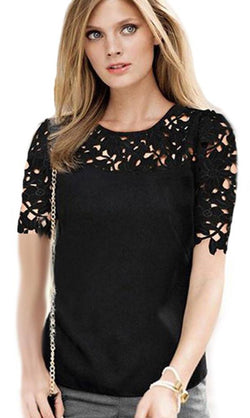 Sexy Hollow Out Crochet Chiffon Lace Blouses