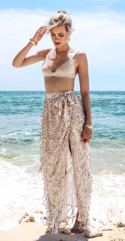 Bohemian Inspired Tassel Belt Sequin Maxi Skirts