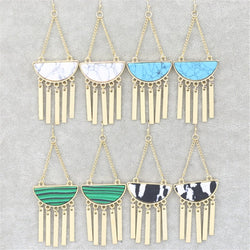 Green Black Blue White Stone Long Tassel Earrings