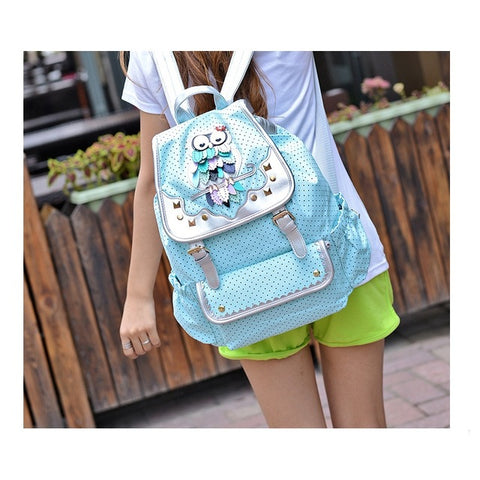 Lovely Cartoon Owl Quality Canvas Backpack/Travel Bag