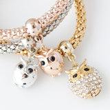 Gold Plated 3 Pieces Crystal Owl Bracelets