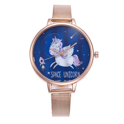 Rose Gold Mesh Unicorn Pattern Watches