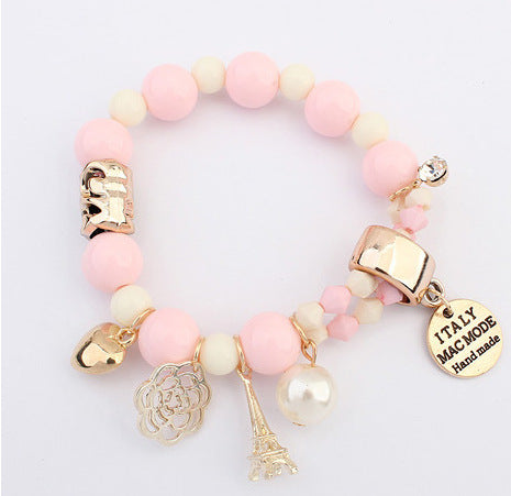 Cute Hearts Romantic Roses Name Plate Eiffel Simulated Pearl Beads Bracelet