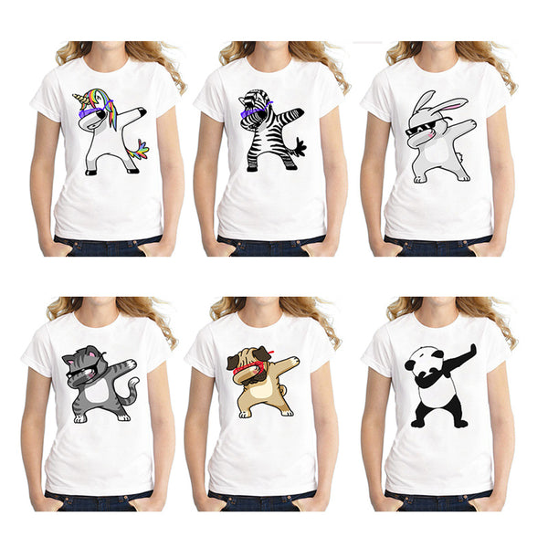 Panda/Pug/Cat/Zebra/Bunny/Unicorn Cute Tees