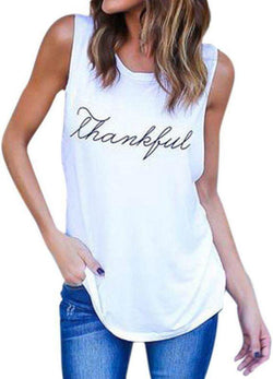 Thankful Casual Summer Tanks Tees
