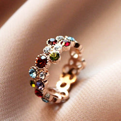 Austrian Crystal Flower Pattern 18GP Multicolor Ring