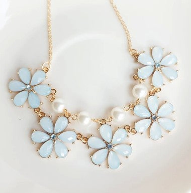 Elegant Sweet Candy Flowers Gems Lattice Collar Necklace