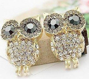 Austria Crystal Imitation Diamond Stud Owl Earring