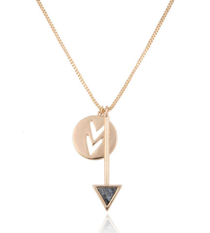 Cute Arrow Stone w/ Chevron Cutout Circle Charm Necklace