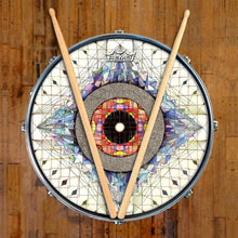 Aladnam Design Remo-Made Graphic Drum Head on Snare Drum; visionary drum art