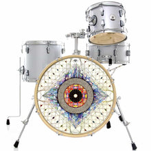 Aladnam graphic drum skin on bass drum kit by Visionary Drum
