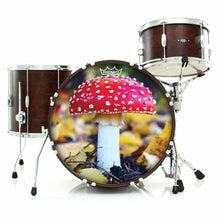Amanita Mushroom Remo-Made Graphic Drum Head on bass drum kit