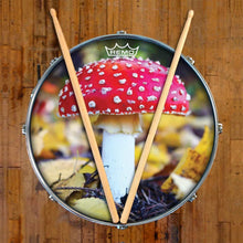 Amanita Mushroom Design Remo-Made Graphic Drum Head on Snare Drum