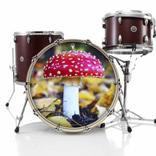 Amanita Mushroom graphic drum skin on bass drum kit by Visionary Drum