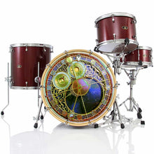 Astrological Clock 2 bass face banner on bass drum kit by Visionary Drum