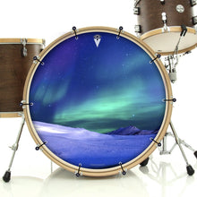 Aurura with snow graphic bass face banner on bass drum