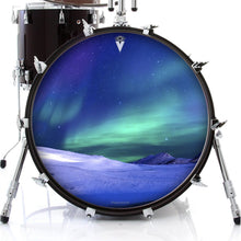 Aurura with snow graphic drum skin on bass