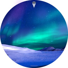 Aurura with snow graphic drum skin by Visionary Drum