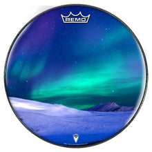 Aurura with snow graphic Remo-made drum head by Visionary Drum