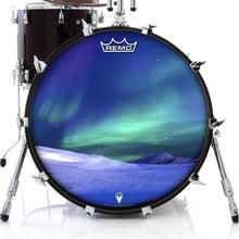 Aurura with snow graphic Remo-made drum head on bass