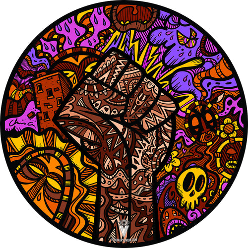 Black Lives Matter Drum Skin with art by Chris Geogenes
