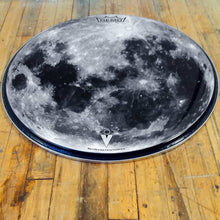 "Moon Graphic 22"" bass drum head by Visionary Drum, Powered by Remo, angle shot"