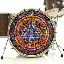 Bismuth bass face banner on bass drum drum kit by Visionary Drum