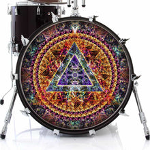 Bismuth graphic drum skin on bass drum kit by Visionary Drum