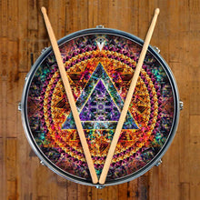 Bismuth graphic drum skin, mandala nature art on snare drum by Visionary Drum