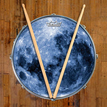Blue Moon Design Remo-Made Graphic Drum Head on Snare Drum; outer space drum art