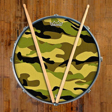 Camo Design Remo-Made Graphic Drum Head on Snare Drum
