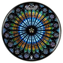 Cathedral stained glass Remo graphic drum head by Visionary Drum