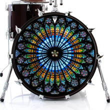 Cathedral stained glass graphic drum skin on bass