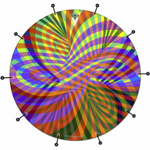 Color Stream bass face drum banner by Visionary Drum; geometric rainbow drum art
