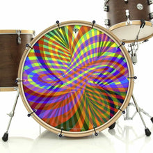Color Stream bass face banner on bass drum drum kit by Visionary Drum